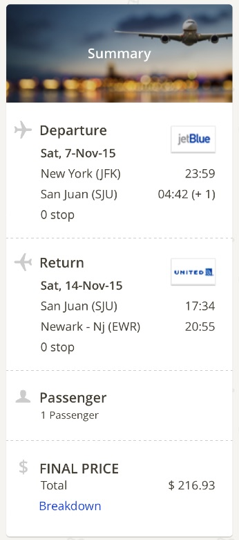New York to San Juan