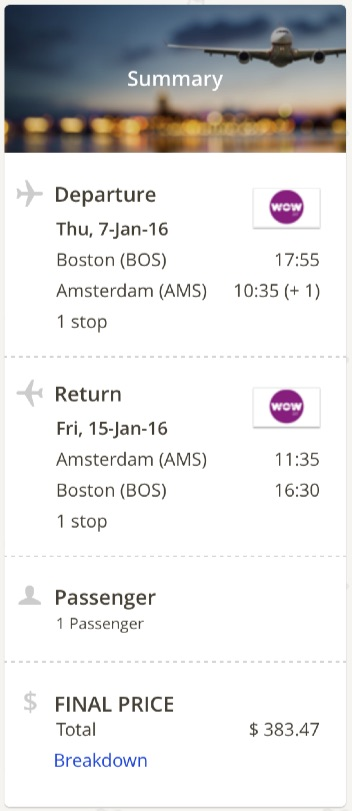 Boston to Amsterdam
