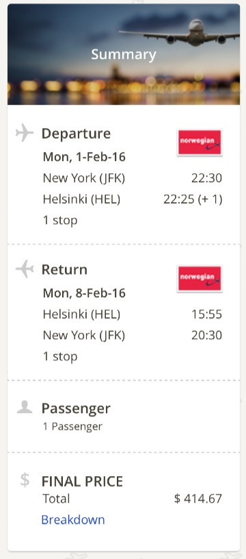 New York to Helsinki