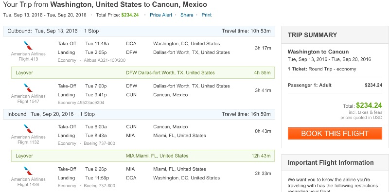 Washington to Cancun