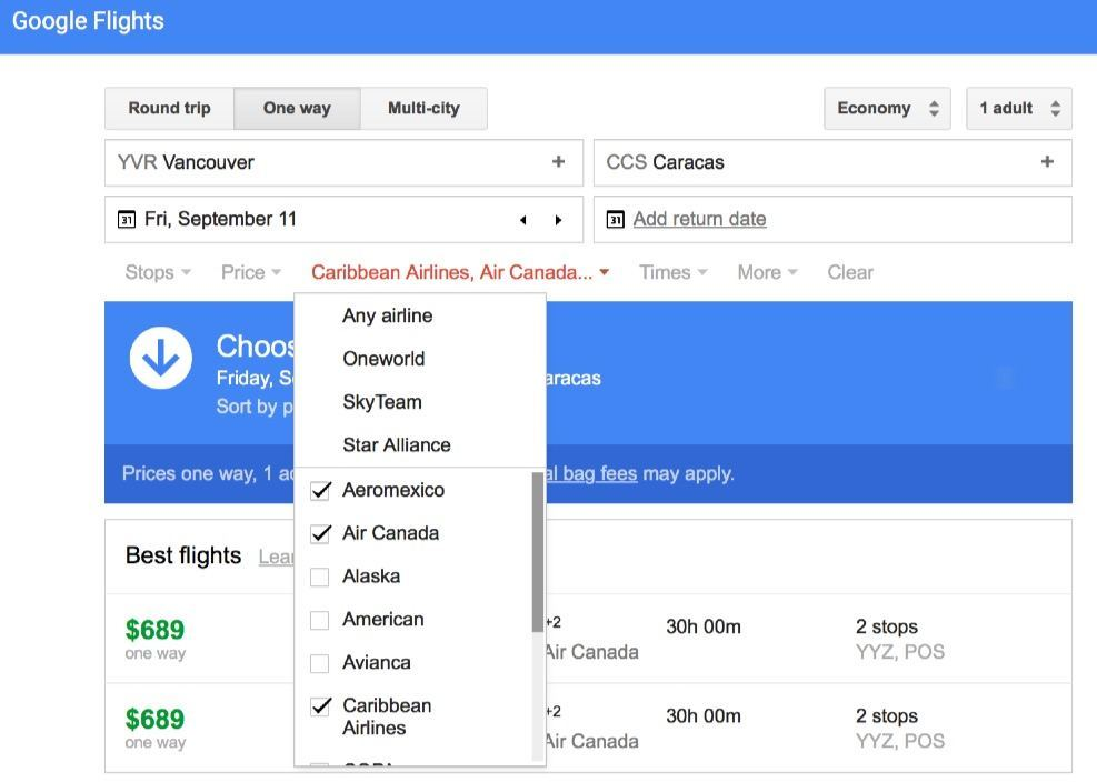 Flights to Caracas – Google Flights with selected airlines