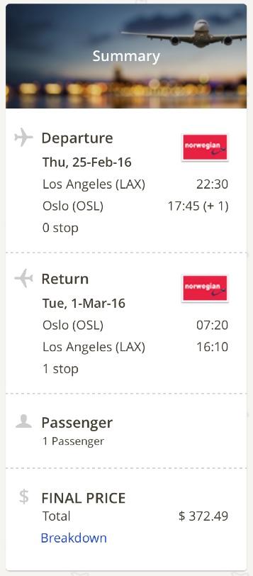 Los Angeles to Oslo