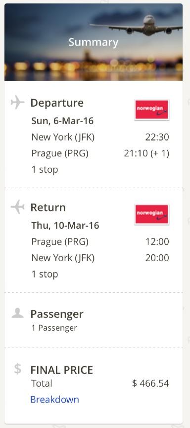 New York to Prague