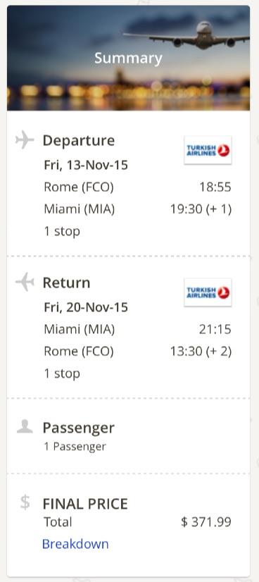 Rome to Miami