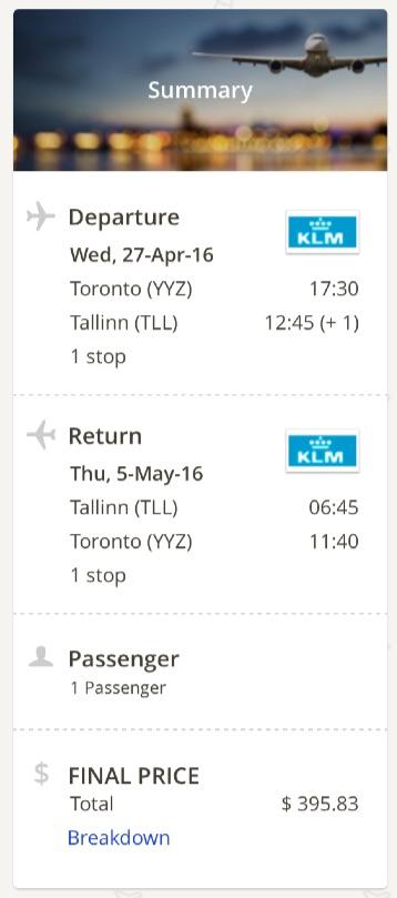 Toronto to Tallinn