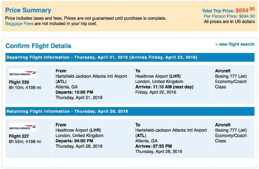 Atlanta to London