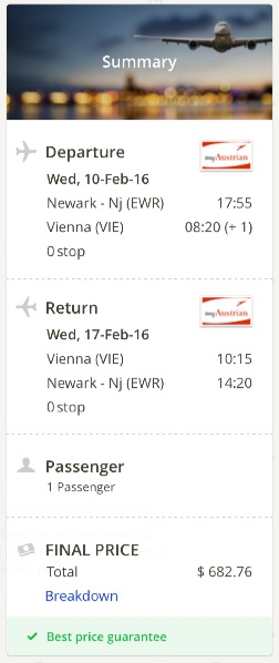 New York to Vienna