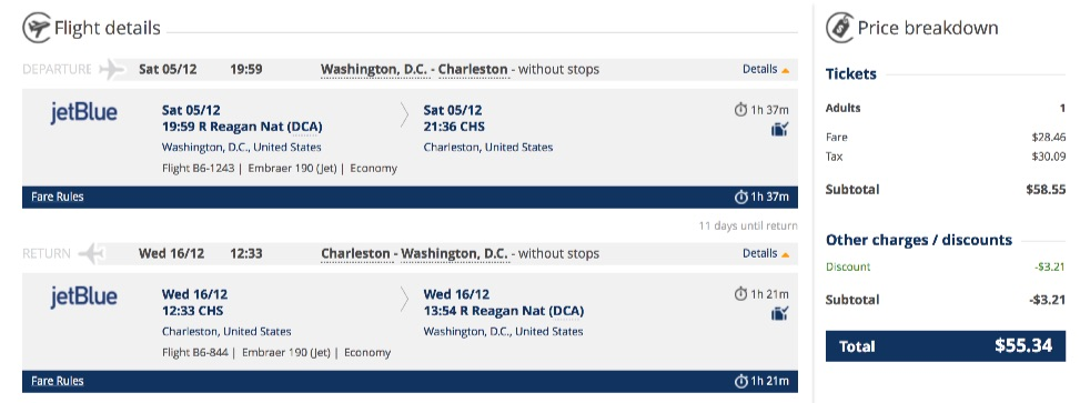 Washington to Charleston