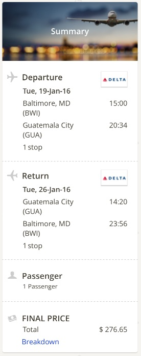 Washington to Guatemala City