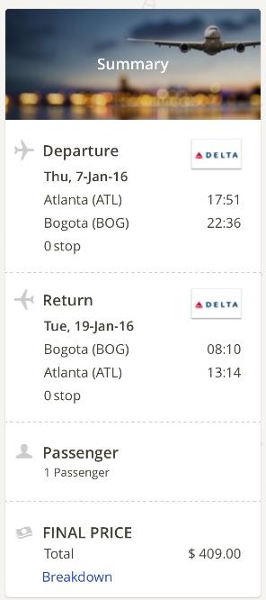 Atlanta to Bogota