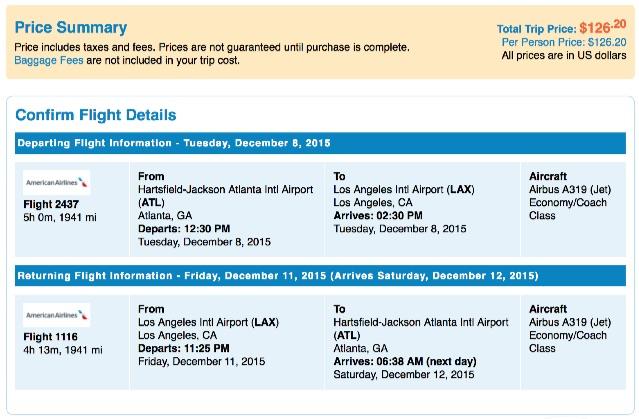 Atlanta to Los Angeles