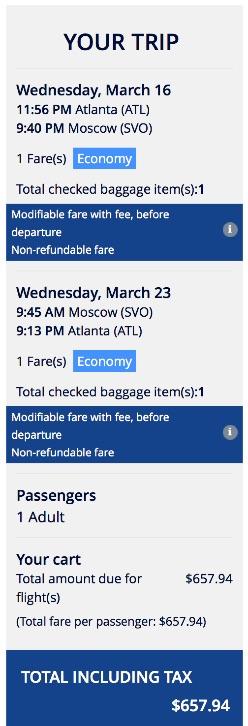 Atlanta to Moscow