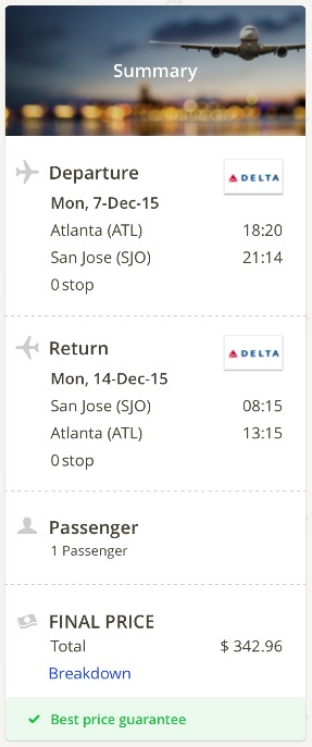 Atlanta to San Jose, Costa Rica