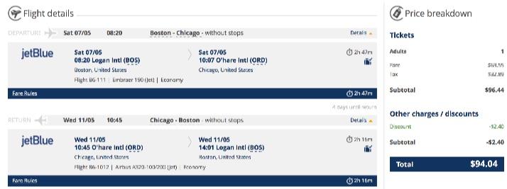Boston to Chicago