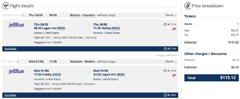 Boston to Houston