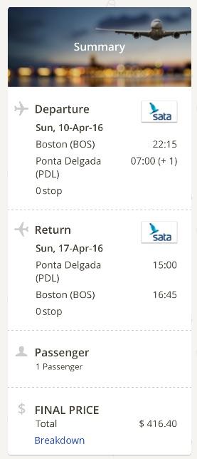 Boston to Ponta Delgada