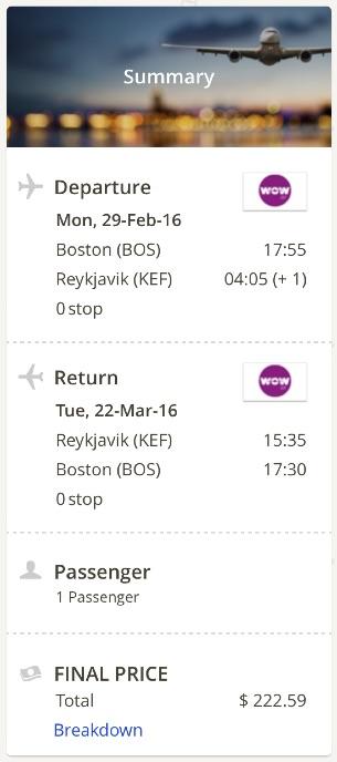 Boston to Reykjavik