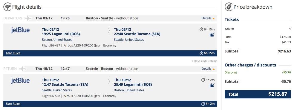 Boston to Seattle