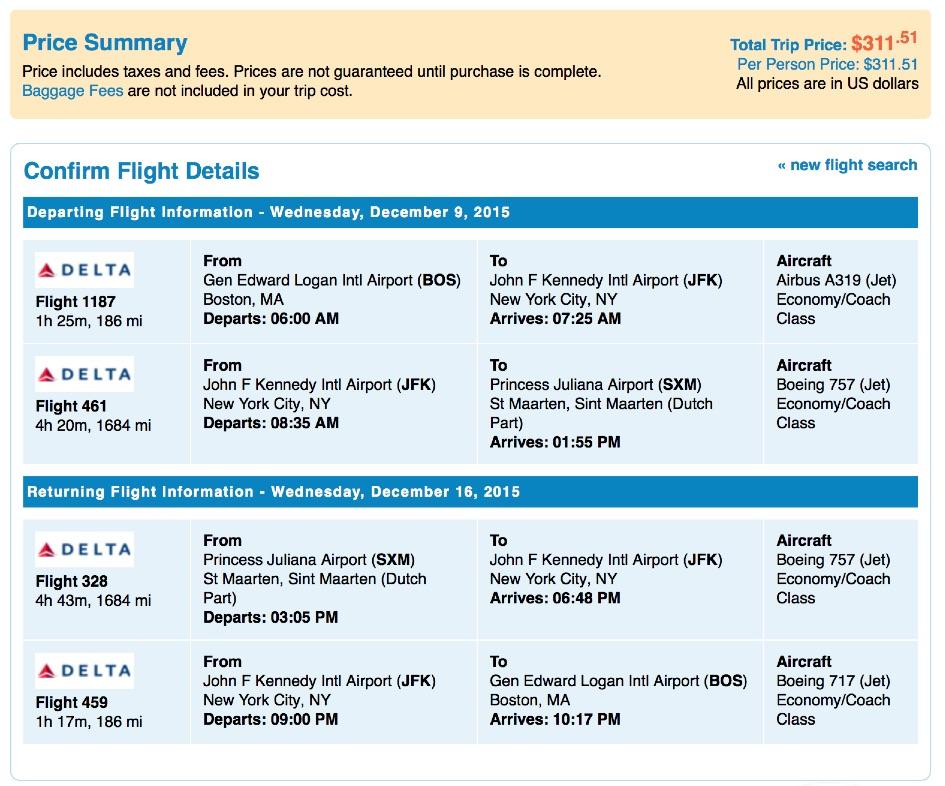 Boston to St. Maarten