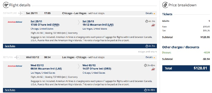 Chicago to Las Vegas for $128