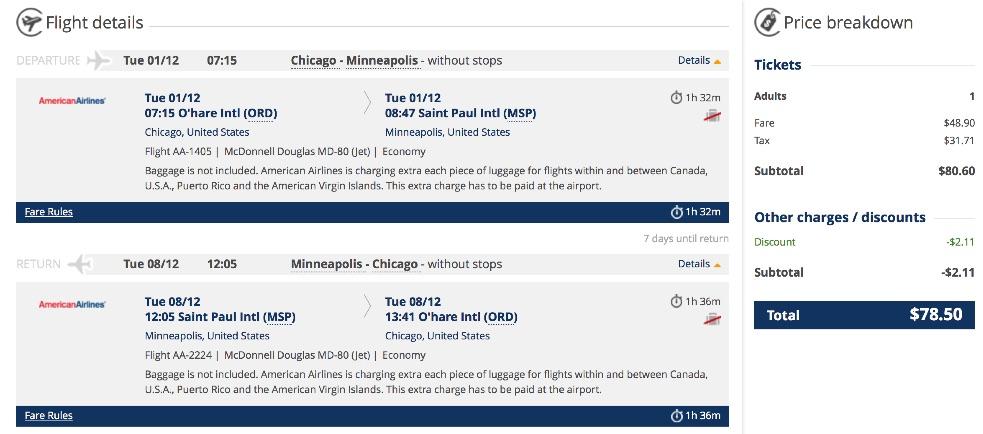 Chicago to Minneapolis