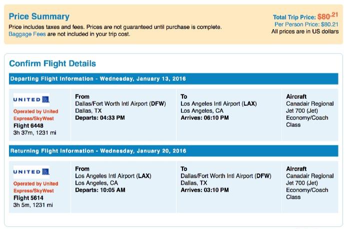 Dallas to Los Angeles