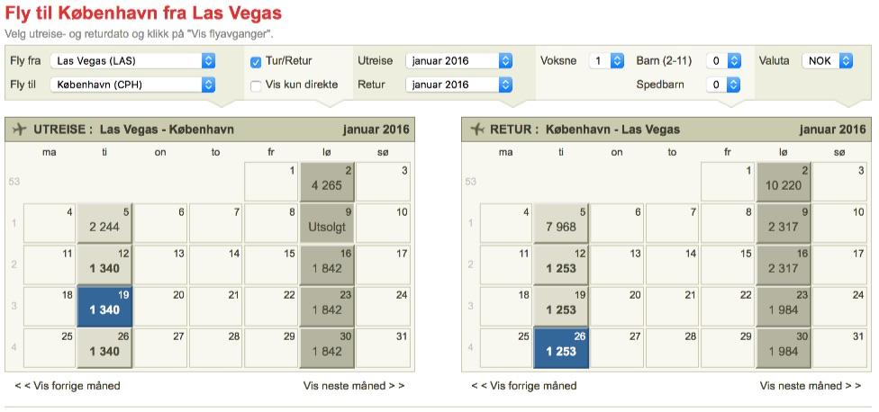 Las Vegas to Copenhagen