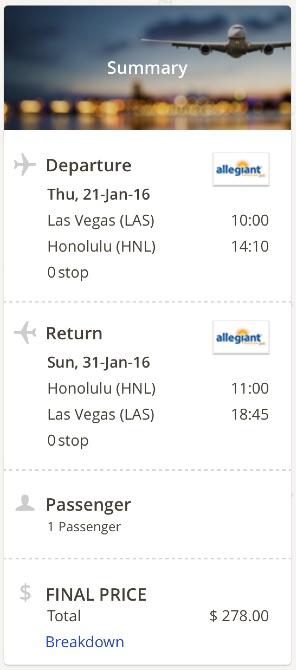 Las Vegas to Hawaii