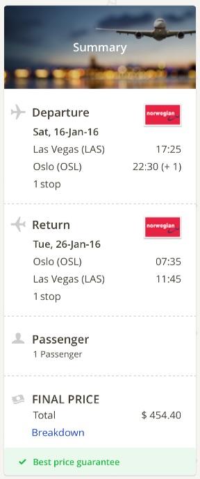 Las Vegas to Oslo