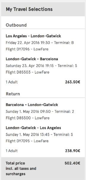 Los Angeles to Barcelona