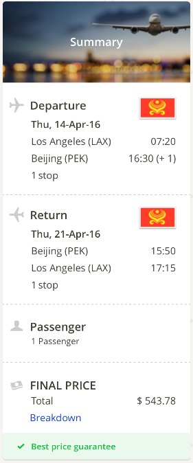Los Angeles to Beijing