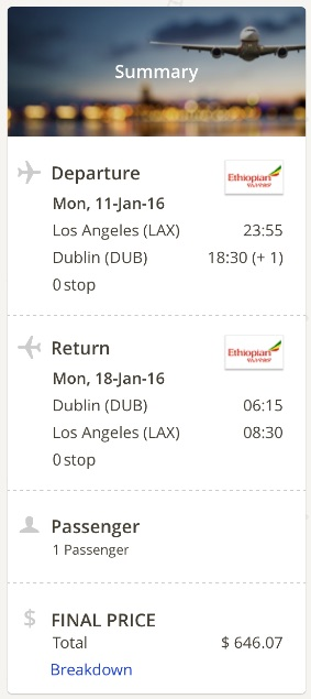 Los Angeles to Dublin