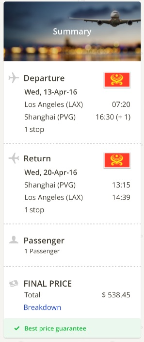 Los Angeles to Shanghai