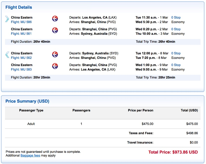 Los Angeles to Sydney