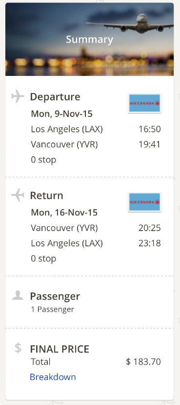 Los Angeles to Vancouver