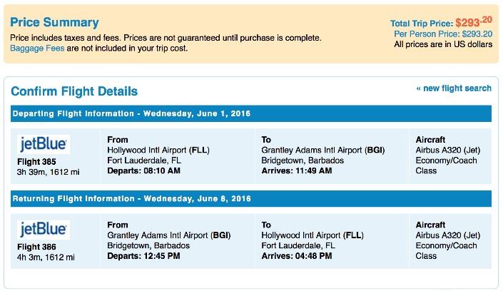 Miami to Barbados