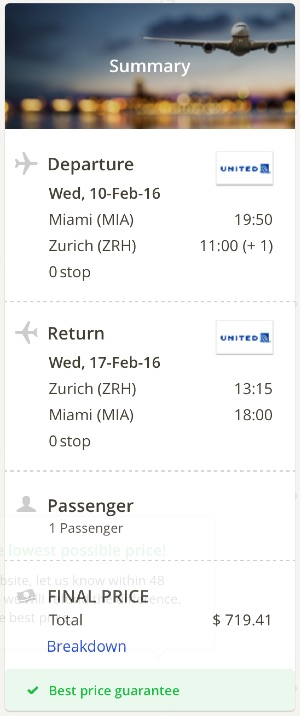 Miami to Zurich