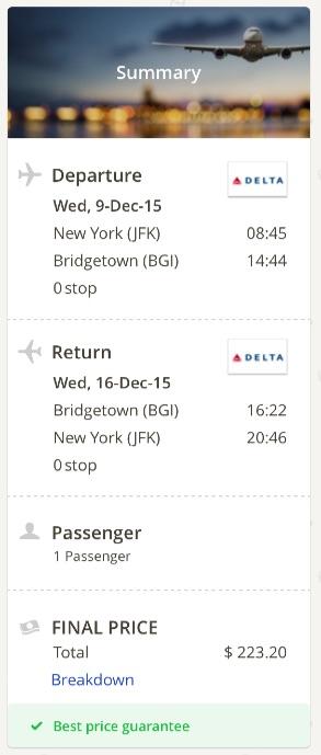 New York to Barbados