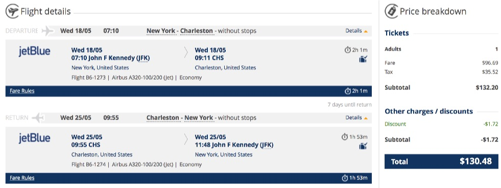 New York to Charleston