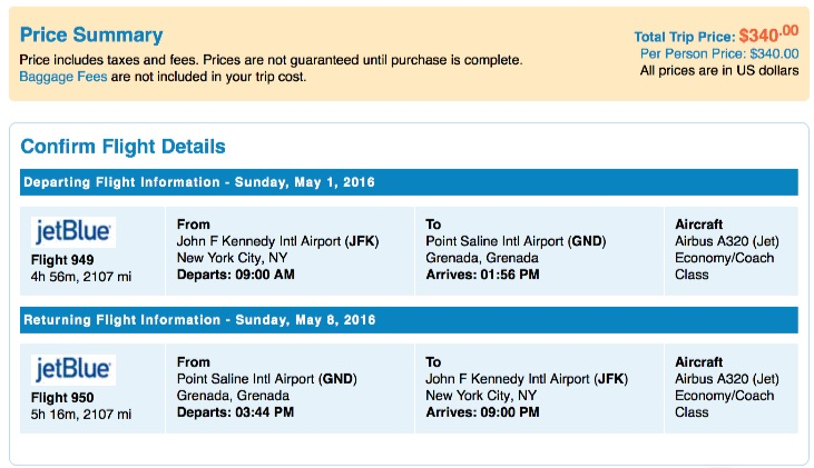 New York to Grenada