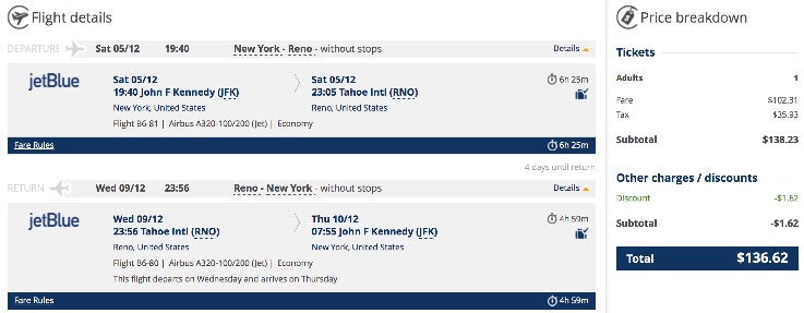 New York to Reno