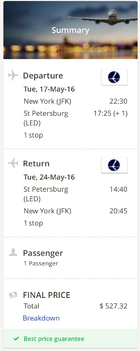 New York to Saint Petersburg