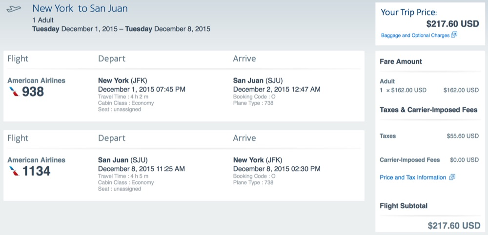 New York to San Juan