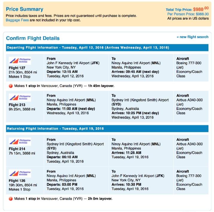 New York to Sydney