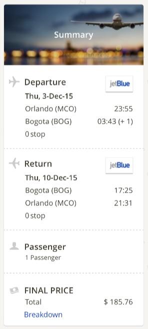 Orlando to Bogota
