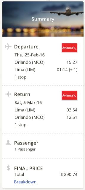 Orlando to Lima