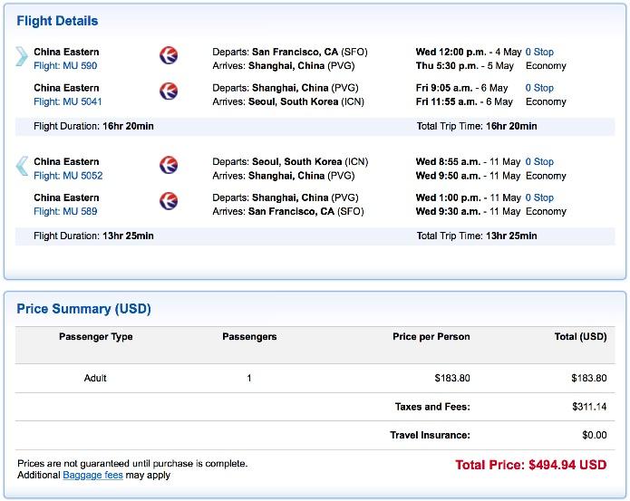 San Francisco to Seoul