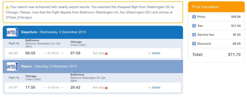 Washington to Chicago