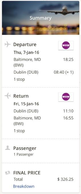 Washington to Dublin