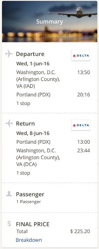 Washington to Portland
